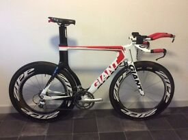 Giant Trinity SL Advanced Time Trial TT Triathlon Bike Zipp 808 1080 Wheels