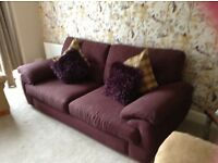 Large 3 seater sofa in high quality blackberry fabric