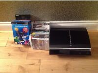 PlayStation 3, 13 games and PlayStation Move, excellent condition, still in box