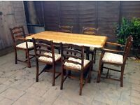 UPCYCLED TABLE WITH 6 CHAIRS - VGC - CAN DELIVER LOCALLY