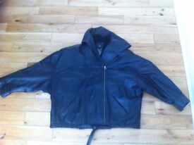 DERISHOW Luxury Real Leather Hooded JACKET Women's size 1, Black leather