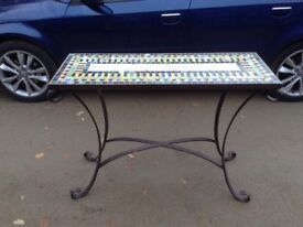 Mosaic top console table.
