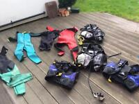 Job lot of Mares scuba BCDs and wetsuits