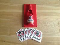 Collectible & RARE - JUPILER (Belgium) bottle opener (magnetic backing) & set of 6 Coasters - NEW