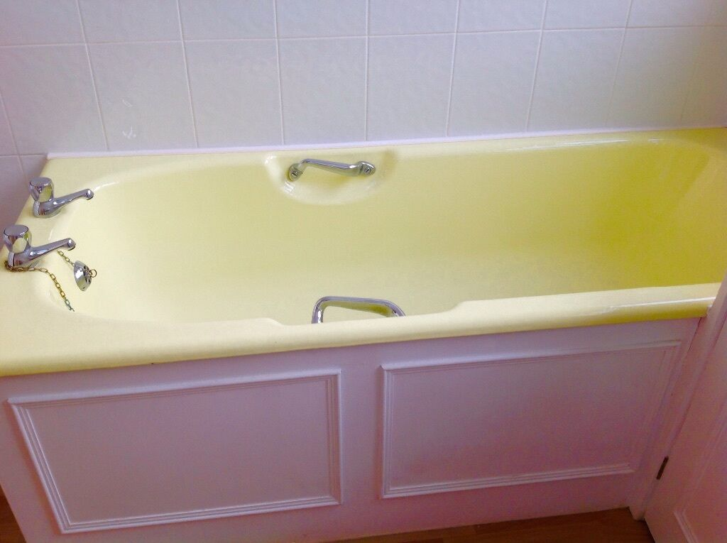 Retro Yellow Bathroom Suite Cast Iron Bath Toilet And Semi Recessed Sink Much Admired