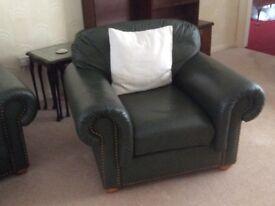 4 Piece Leather Dark Green Suite