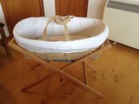 Moses basket with stand, in good condition