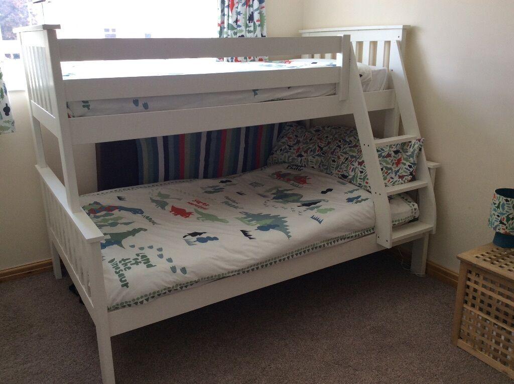 Atlantis Bedroom Furniture Atlantis Bunk Bed Triple Sleeper White Pine Wood Frame  In Heath .
