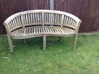 Teak banana garden bench