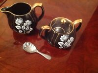 Antique black gold jug sugar bowl no chips spoon