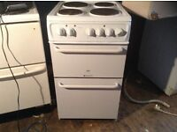Electric cooker,white,solid hob plates,original appearance £85.00