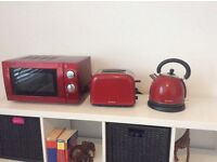 Red kettle, toaster and microwave