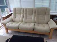 STRESSLESS 3 SEATER SETTEE WITH INDIVIDUAL RECLINING SEATS