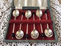 Silver Plated Coffee Bean Spoons in original box.