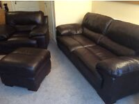 DFS leather settee, chair and footstool. Immaculate condition - Walnut