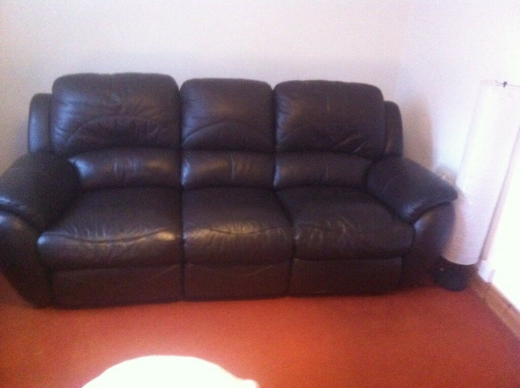 Brown leather sofas 3-2
