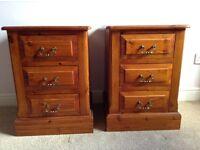 Antique pine bedside cabinets x 2 - handmade