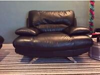 Harvey's Samara Large Single Chair/Sofa Black Leather