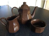 Vintage Tea Pot, Sugar Bowl and Milk Jug Set. Dark Brown. Unused.