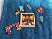 Wooden farm puzzle, 3x layers, good condition