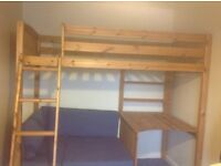 High Sleeper Bed with desk, shelves and seat / pull out futon. Solid wood frame