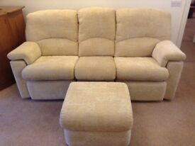 3 seat sofa recliner, 1 armchair recliner and 1 ottoman. G-Plan