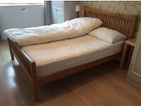 King size bed frame with as new mattress