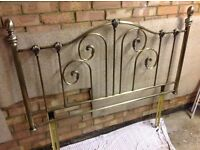 Double Metal bedstead headboard brass bronze bed vgc