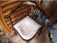 Antique corner inlaid chair