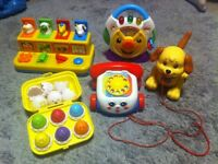 childrens fisher price bundle, eggs, pop up, telephone