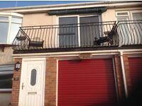Wrought iron balcony.