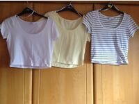 3 X size 12 crop T/Shirts. Clean & immaculate. Price is for ALL 3 and NOT each !!! Hols/uni/bed etc.