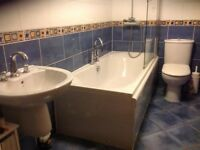 Bathroom suit, mains water shower, quality screen used condition but no damage to any item. ONO