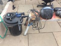 Pond filter , uv light and pump
