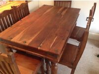 Hand made solid oak dining table and 6 chairs