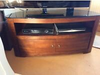Teak and glass oval TV cabinet
