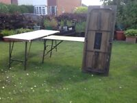 Wooden fold up tables with metal legs suitable for parties/ entertaining