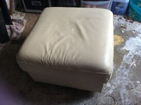 Cream leather square footstool