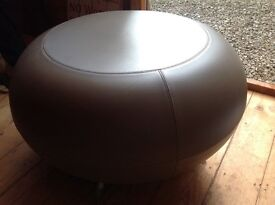 Round Taupe Modern Footstool with legs