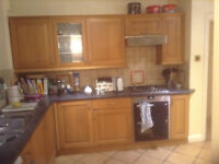 Solid Oak Kitchen Cupboard Doors - with handles and hinges