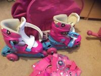 Girls Adjustable Skates size 26-29, with knee, arm pads and bag, excellent condition