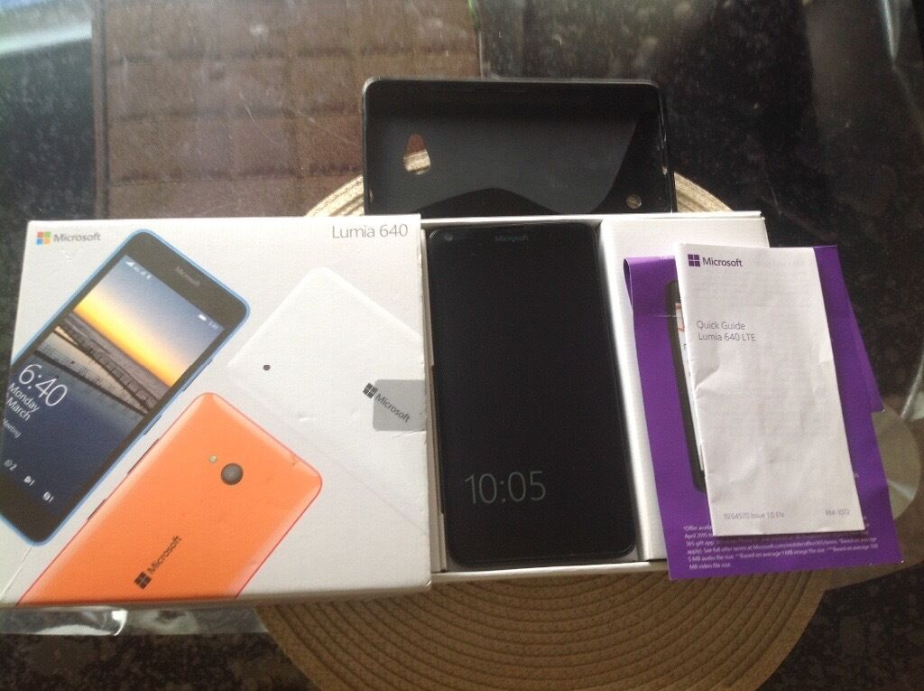Microsoft Lumia 640 LTE mobile phonein Kettering, NorthamptonshireGumtree - Microsoft Lumia 640 LTE phone with charger and protective cover.un locked.excellent condition.hardly used.from a pets,smoke free home.£55.00 Ono.please contact 07897661102