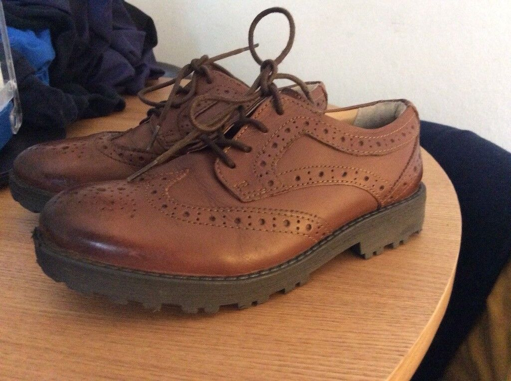 Boys brown leather brogues M and S