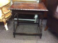 Vintage oak barley twist side table