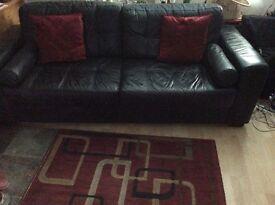 Sofa 3 seater black leather