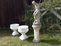 Garden Pots and Statue on plinth.