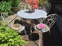 French Antique Ornate Decorative Wrought Iron Circular Table Chairs Garden Furniture Set