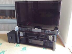 "52"" Samsung TV with Tannoy surround sound speaker and sub woofer"