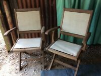 Quality wooden small garden table and 2 chairs (see pictures)