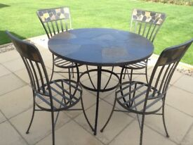 Metal and stone table and chairs